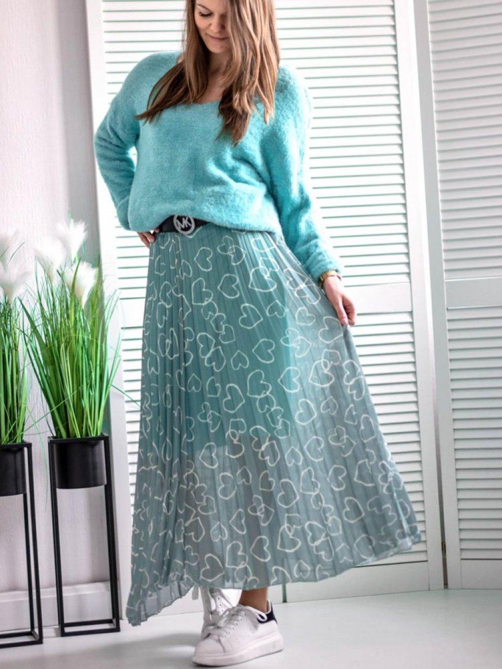 Spódnica plisowana w serduszka mięta liluboutique.pl