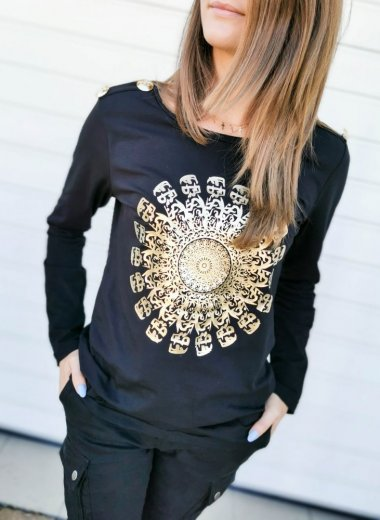 Bluzka Mandala black and gold