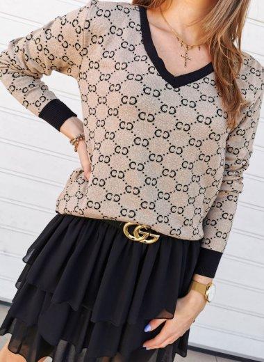 Sweter CC monogram złoto-czarny