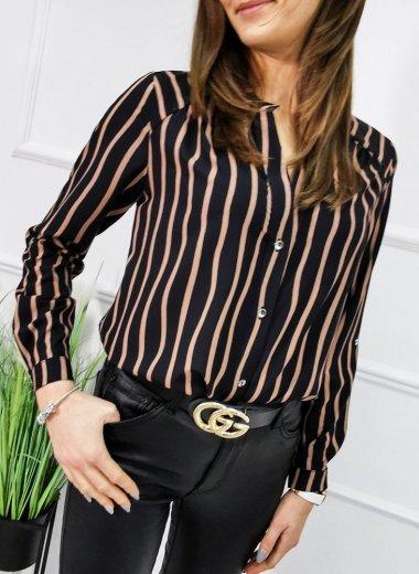 Koszula Felia pasy czarna/brąz