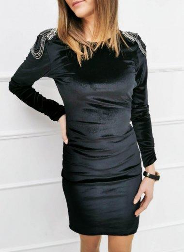 Sukienka aksamitna czarna z pagonami Lila