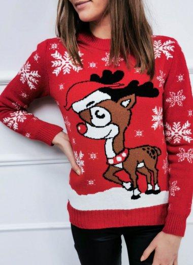 Sweter Świąteczny z reniferami red