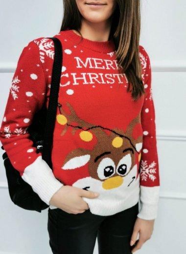 Sweter Świąteczny z reniferami red II