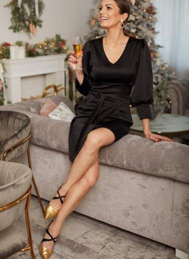 Sukienka z bufkami i paskiem Loos czarna