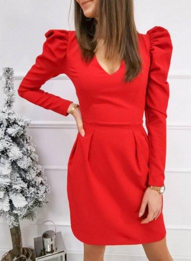 Sukienka z bufkami Imperialle czerwona