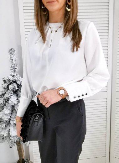 Bluzka elegancka z łezką kremowa