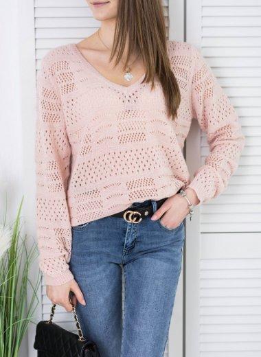 Sweter ażurowy w serek pudrowy róż