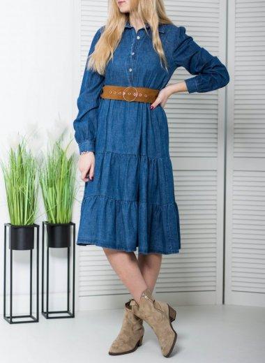 Sukienka jeansowa z paskiem denim