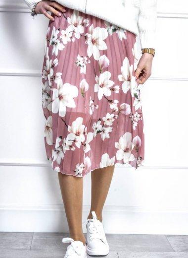 Spódnica plisowana w kwiatki pastelowy róż