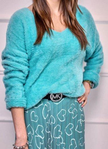 Sweter mięciutki w serek mięta