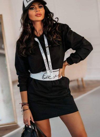 Komplet dresowy ze spódnicą Cape czarny