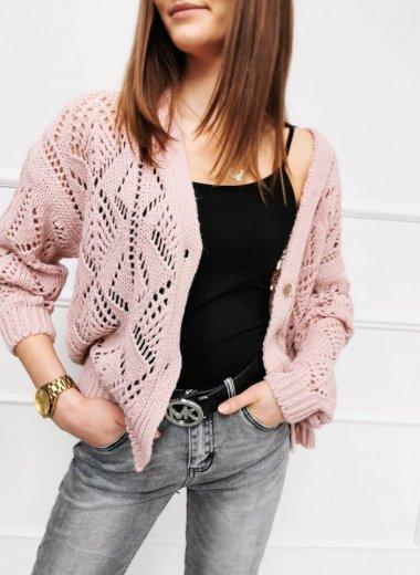 Sweter ażurkowy Hoste pudrowy róż