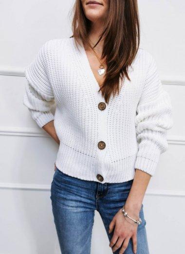 Sweter na guziki Wetar biały