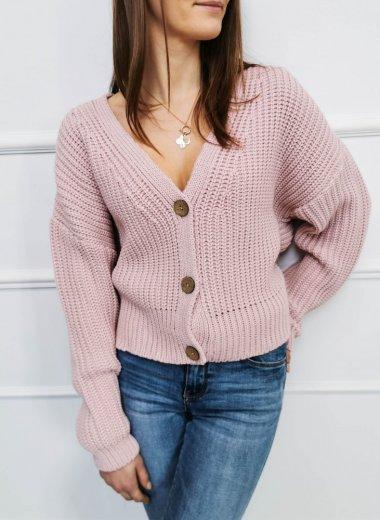 Sweter na guziki Wetar róż