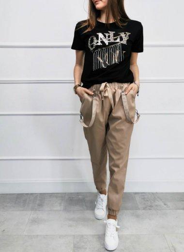 Spodnie z przypinkami i troczkiem beżowe