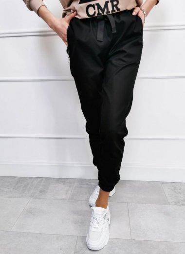 Spodnie z przypinkami i troczkiem czarne