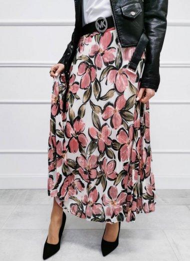 Spódnica Loara w kwiaty różowa