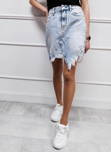 Spódnica jeansowa strzępiona Albi light blue