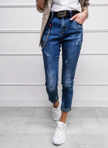 Spodnie jeansowe z łańcuszkami i paskiem