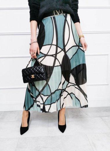 Spódnica plisowana we wzory zielona