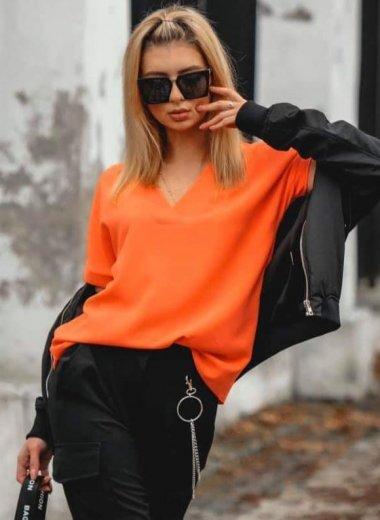 Bluzka w szpic Lora pomarańczowa
