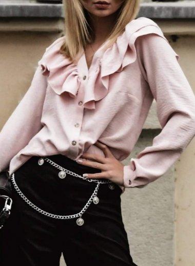 Bluzka z falbankami Simone puder róż