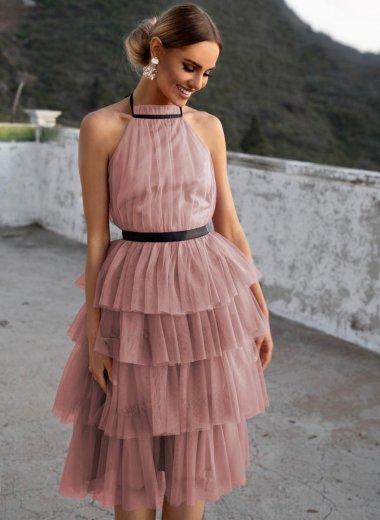 Sukienka z falbanami Zoya brudny róż