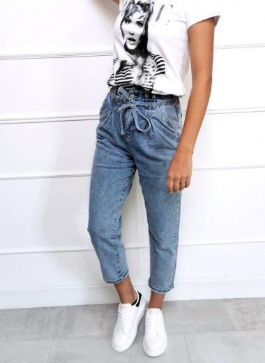 Spodnie jeansowe Slouchy light wiązane