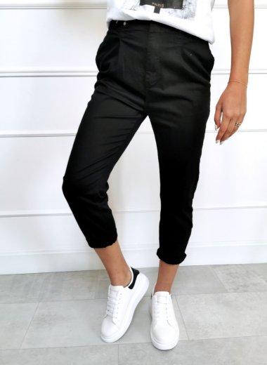 Spodnie z guziczkami Catton czarne