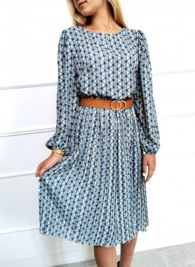 Sukienka we wzory Ika niebieska