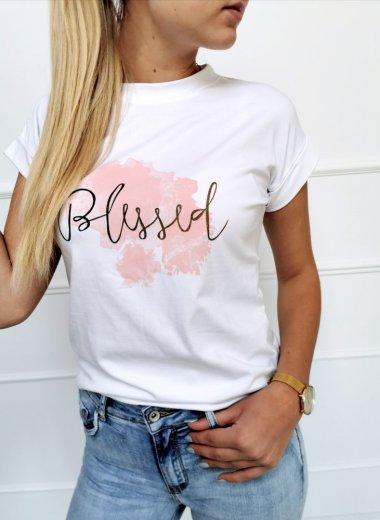 T-shirt Blessed biała