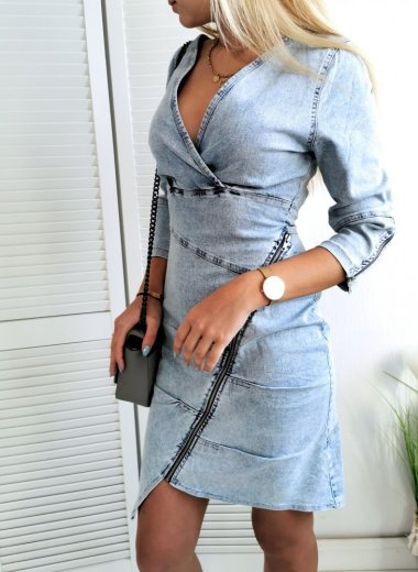 Sukienka jeansowa z zamkami Chatou