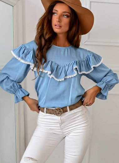 Bluzka Ana z żabotem blue