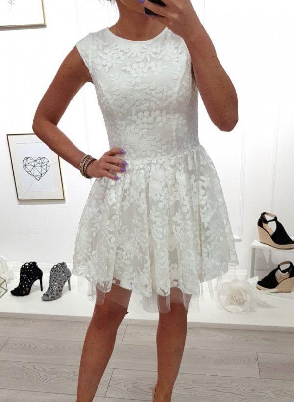Sukienka biała koronkowa Rocca