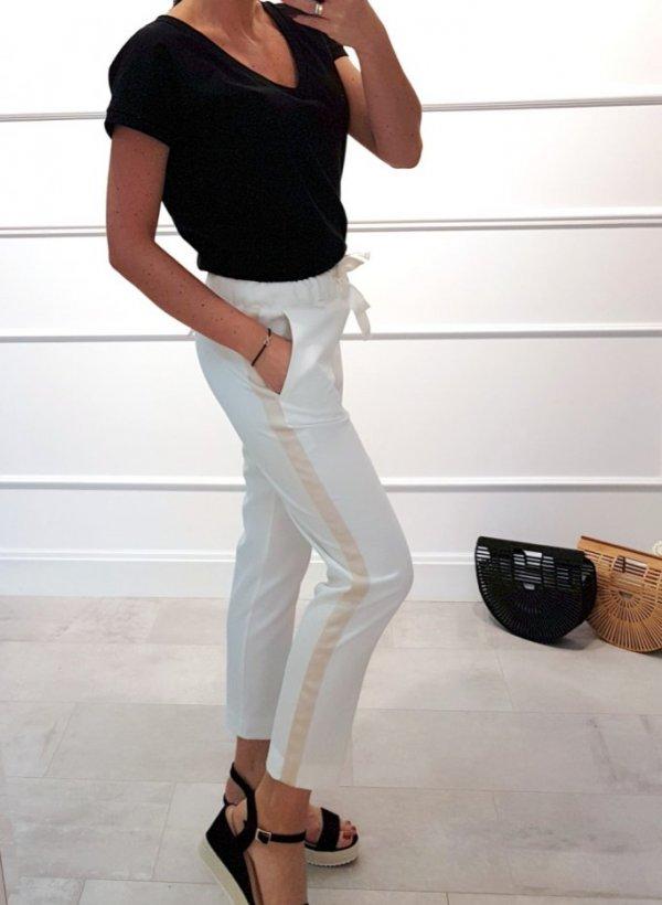 Białe spodnie z lampasem Iron