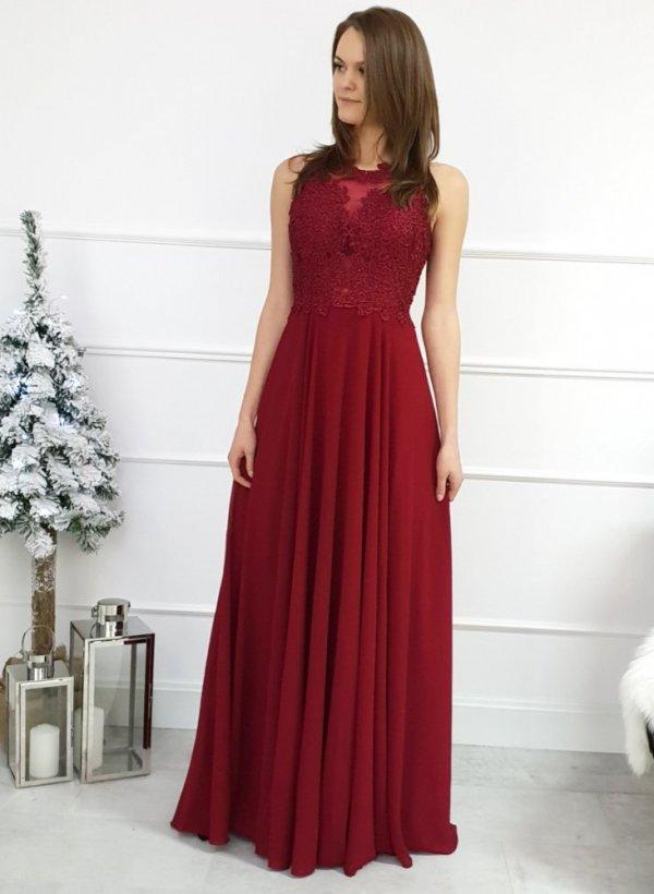 Długa sukienka Glovi bordo