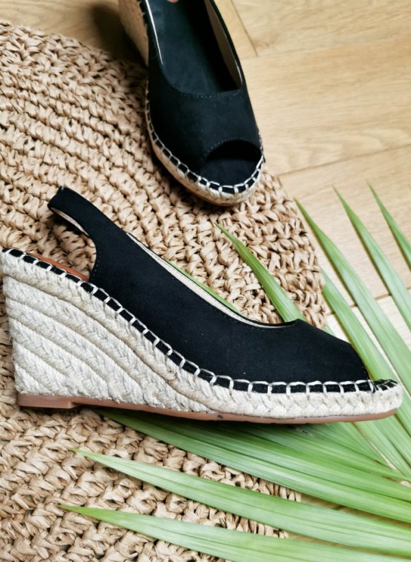 Sandały na plecionej koturnie Get Ready czarne