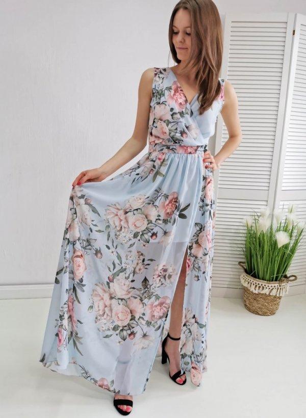 Sukienka Maxi blue flower