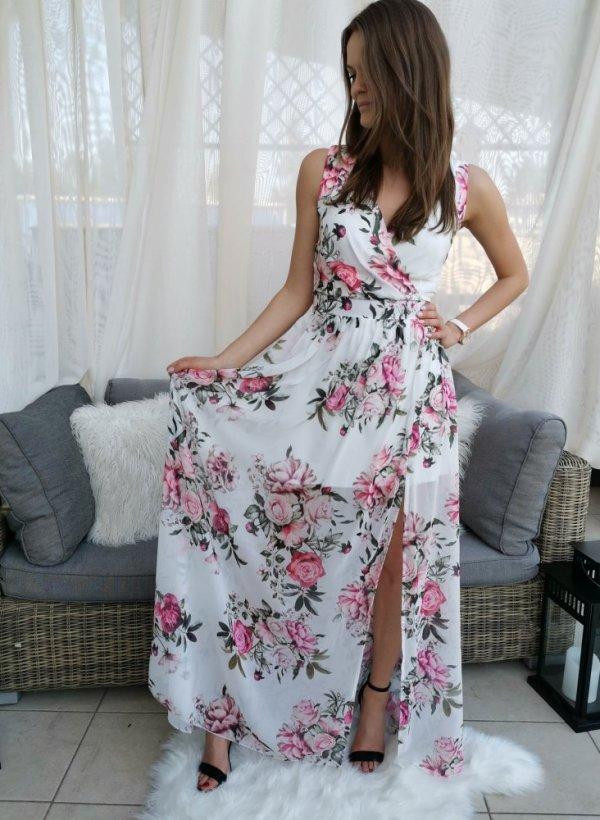 Sukienka Maxi flower krem