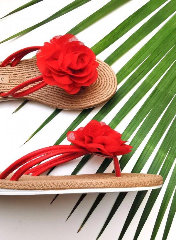Japonki z kwiatem Jersey red