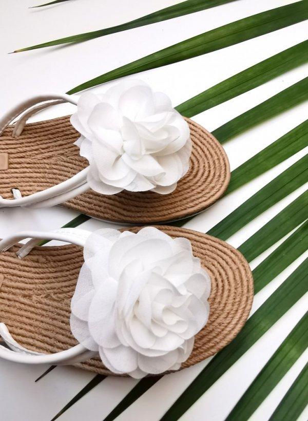 Japonki z kwiatem Jersey white