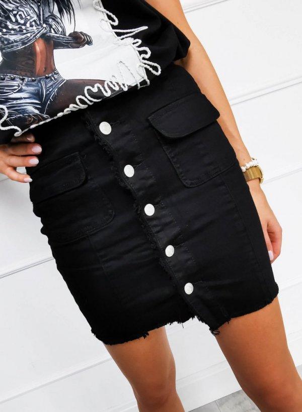 Spódnica z guzikami czarna Leyla