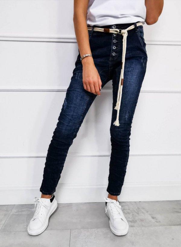 Spodnie jeansowe z paskiem sznurkowym Mono