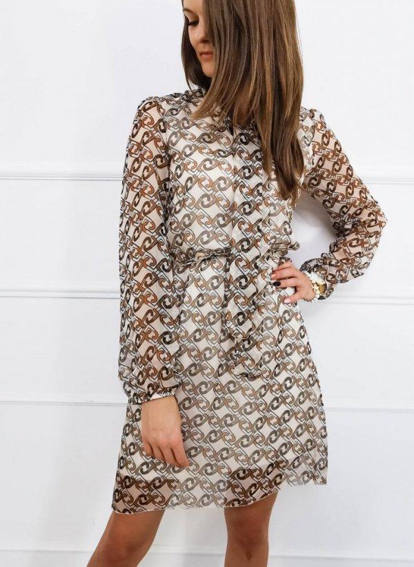 Sukienka we wzory Warm beige