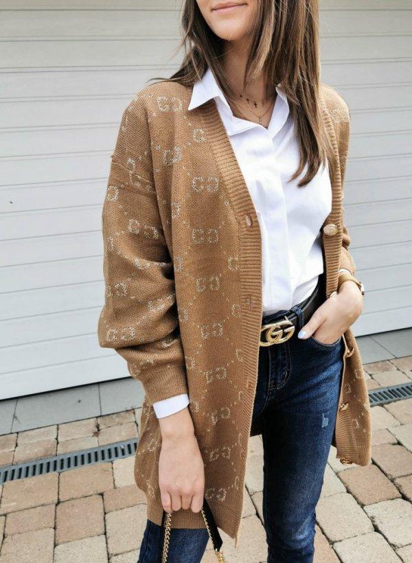 Kardigan Pari CC gold button camel