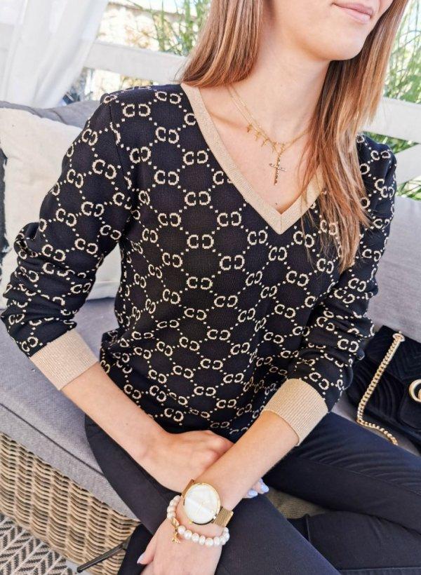 Sweter CC monogram czarno-złoty