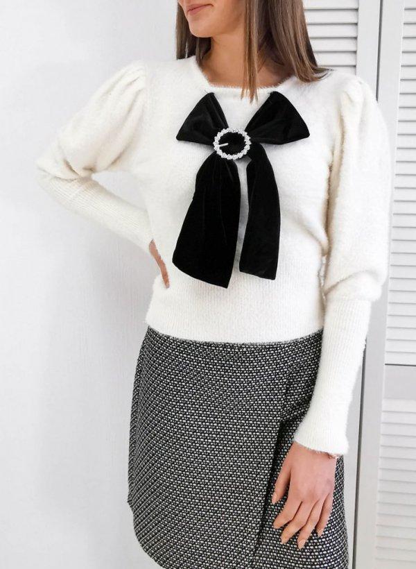 Sweter z kokardą krem Roanne
