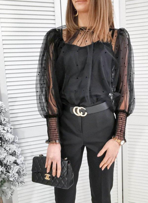 Bluzka z bufkami i tiulem Macon czarna
