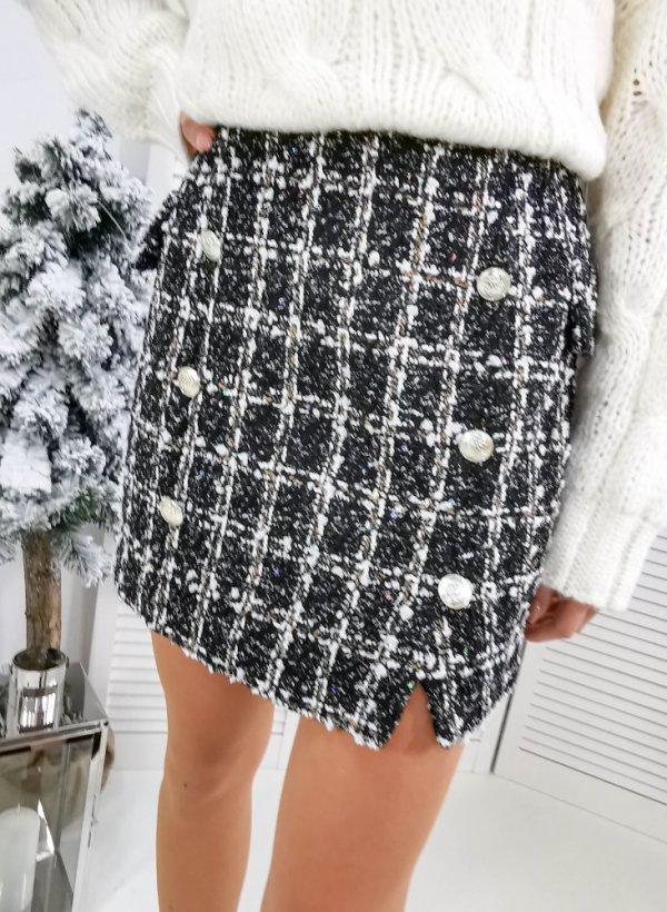 Spódnica w czarno-białą kratkę z paskiem Reze