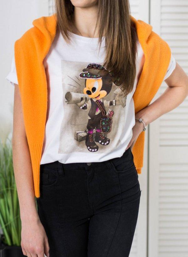 T-shirt Mickey koraliki biały